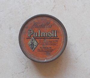 Boite-Ancienne-Tole-Metal-Pastilles-Pulmoll-Pharmacie-Collection-Tin-Box-Vintage