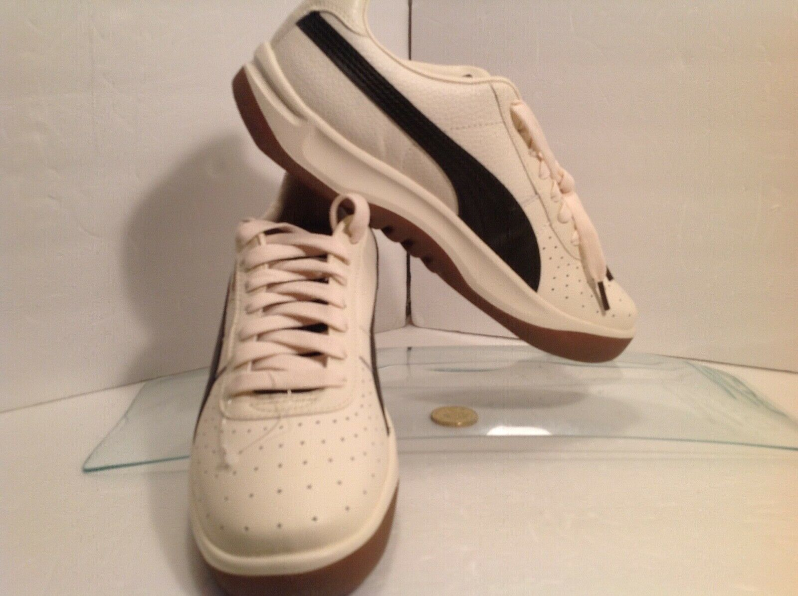 Puma GV Rare Cream color size 11 this too sweet look at the gold tongue Logo ah