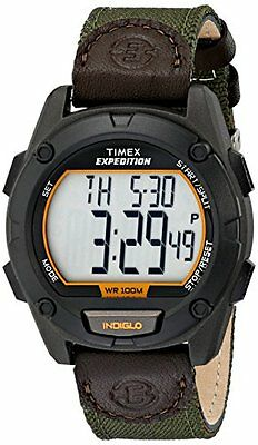 Timex Men's Expedition Indiglo Light Digital Green Nylon & Leather Watch T49947