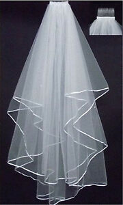 2-Layer-white-Ivory-Elbow-Length-Satin-Edge-Wedding-Bridal-Veil-with-Comb-70cm