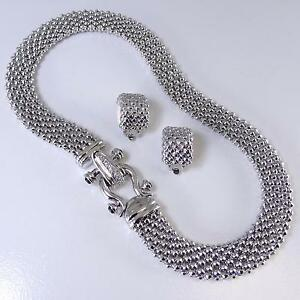 Silver Mesh Buckle Choker Womens Crystal Magnetic Necklace Clip Earrings Set