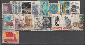 India-1972-Complete-Year-Set-of-17-Used-Stamps
