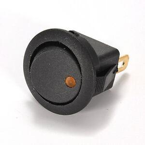 5x-Interruptor-Circular-Negro-Led-12V-Amarillo-Yellow-Modo-B-Encendido