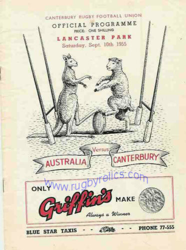 Canterbury v Australia 10 Sep 1955 Christchurch RUGBY PROGRAMME