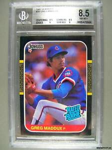 1987-Donruss-36-GREG-MADDUX-Beckett-NM-MT-8-5-Cubs-RC-Rookie