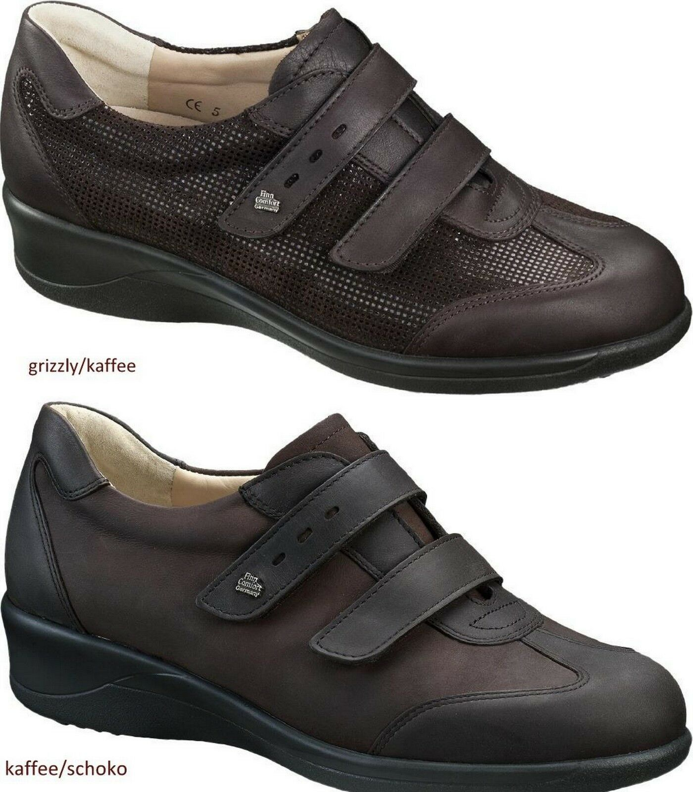 FINN COMFORT MESSINA SHOES LEATHER BROWN WOMEN'S LADY LADIES HOOK&LOOP BROWN LEATHER ROT GREY b7b9e2