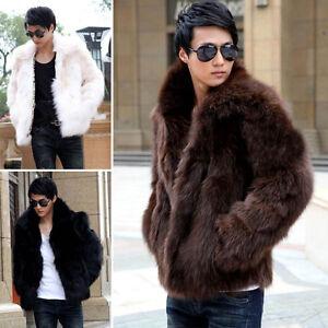 Men Business Winter Faux Fur Jacket Mens Fur Coat Outwear Trench ...