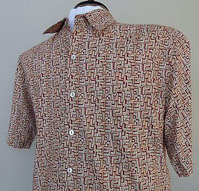 Tori Richard Hawaiian Shirt Small Mens Geometric Cotton Lawn Rust Tan USA Aloha