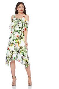 Roman Originals Women/'s Navy Tropical Print Bardot Top Sizes 10-20