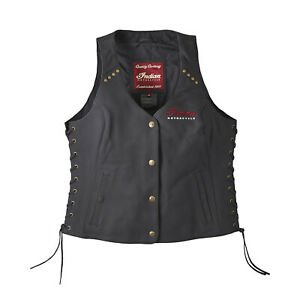 Indian Motorcycle Women's Classic Leather Vest, Black