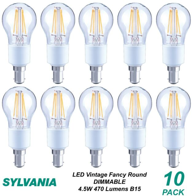 10 x LED 4W Dimmable Vintage Round Filament Light Globes Bulbs Lamps B15 Bayonet