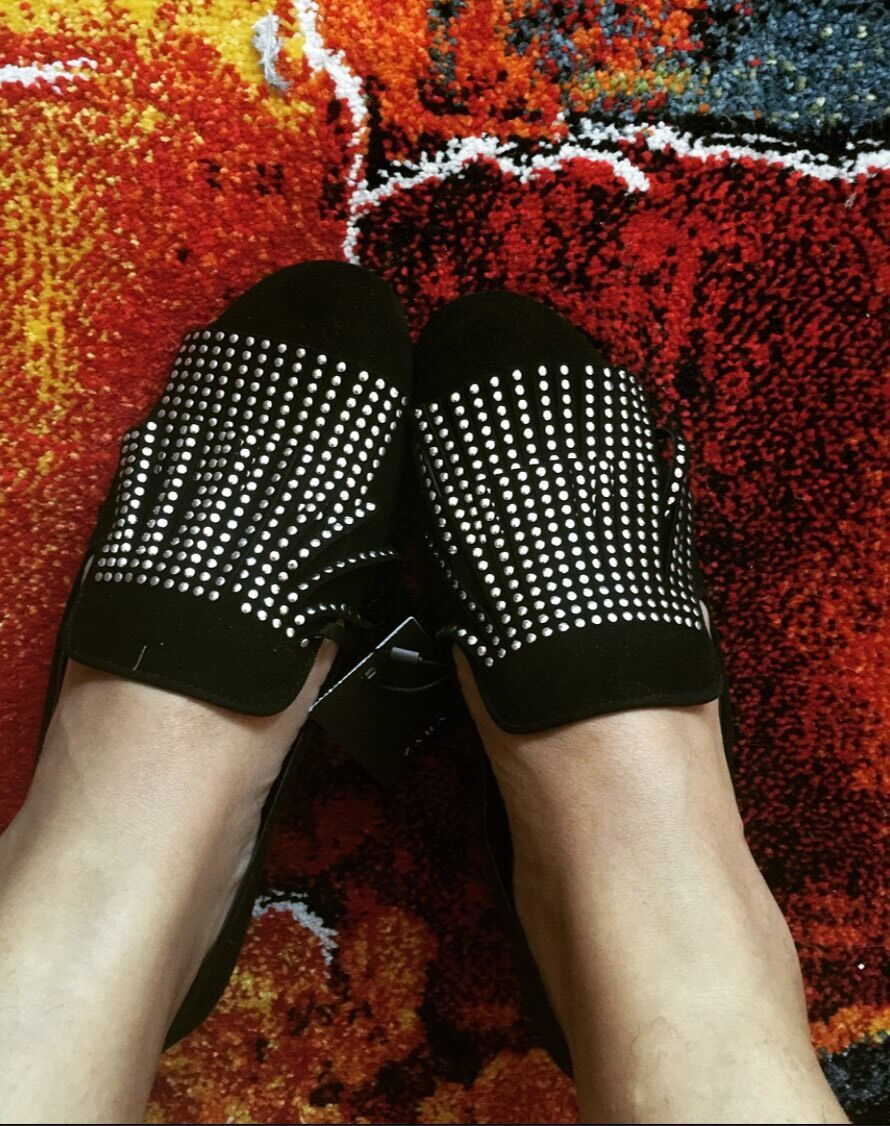 ZARA Suede Leather Black micro Silver Studded Fringe Shoes sandals Euro 40
