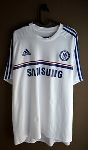 sale retailer 5b8e3 67f3a Details about CHELSEA 2013 2014 AWAY WHITE TRAINING ADIDAS SOCCER FOOTBALL  SHIRT JERSEY XL