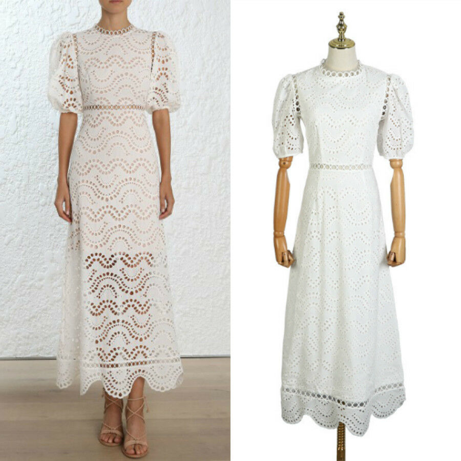 White Puff sleeve Cotton Long hollow Lace Dress