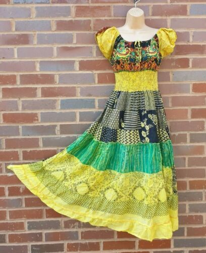 Cotton Maxi Dress Bardot Colorful Patchwork Casual Yellow One Size 8 10 12 14 16