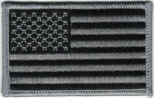 Urban Black Gray Grey United States US Flag Patch VELCRO BRAND Hook Fastener