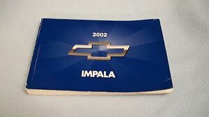 2002 chevrolet impala owners manual with binder ebay rh ebay com 2003 Chevrolet Impala 2002 chevrolet impala owner's manual