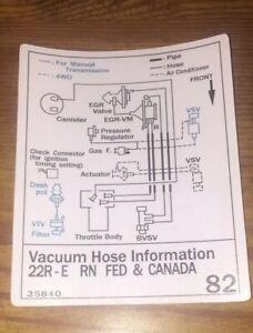 1987 Toyota Pickup Truck/4runner Vacuum Diagram Decal ...
