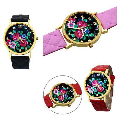 New! Luxury Geneva Vogue Women Rose Analog Dial Leather Band Wrist Watch Watches