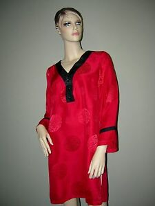 Image is loading Womens-100-Pure-SILK-Red-Black-Nightshirt-NWT- 13810aa03