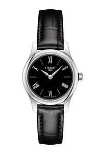 New-Tissot-Tradition-5-5-Black-Dial-Leather-Band-Women-039-s-Watch-T0630091605800