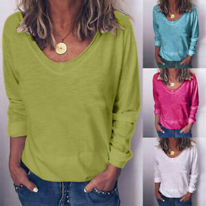Womens-Ladies-Plus-Size-Blouse-Solid-Long-Sleeve-O-neck-Pullover-Tops-T-Shirts
