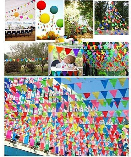 JZK® 262 feet = 80 meters Colourful party bunting triangle flag banner string