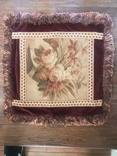 """Pillow Cushion Cover 18"""" X 18"""" Handmade Wool Aubusson Needlepoint Petit Point"""