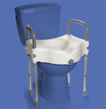 Elevated Raised Toilet Seat with Arms & Leg Supports