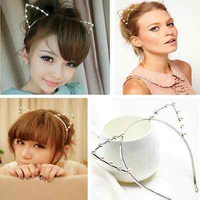 Girls Cat Ears Faux Rhinestones Alloy Headband Fashion Women Hair Band Cute Gift