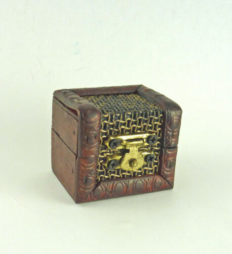 N043 Dollhouse Miniature Dark Wood Chest with Chainmail Effect