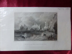 Antique-engraving-VIEW-THE-NEEDLES-SCRATCHELLS-BAY-ISLE-OF-WIGHT-c1830-Veduta