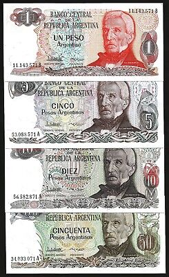 5 UNC ARGENTINA 10 set x 1 10 centavos  issue 1983 and 1 peso issue 1984
