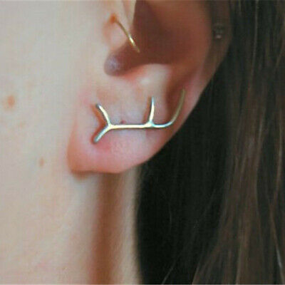 Small Silver Plated Lightning Bolt Ear Studs Strike Earrings Jewelry Christmas