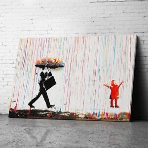 Umbrella Colorful Rain Banksy Canvas Wall Art Prints Framed Large Graffiti