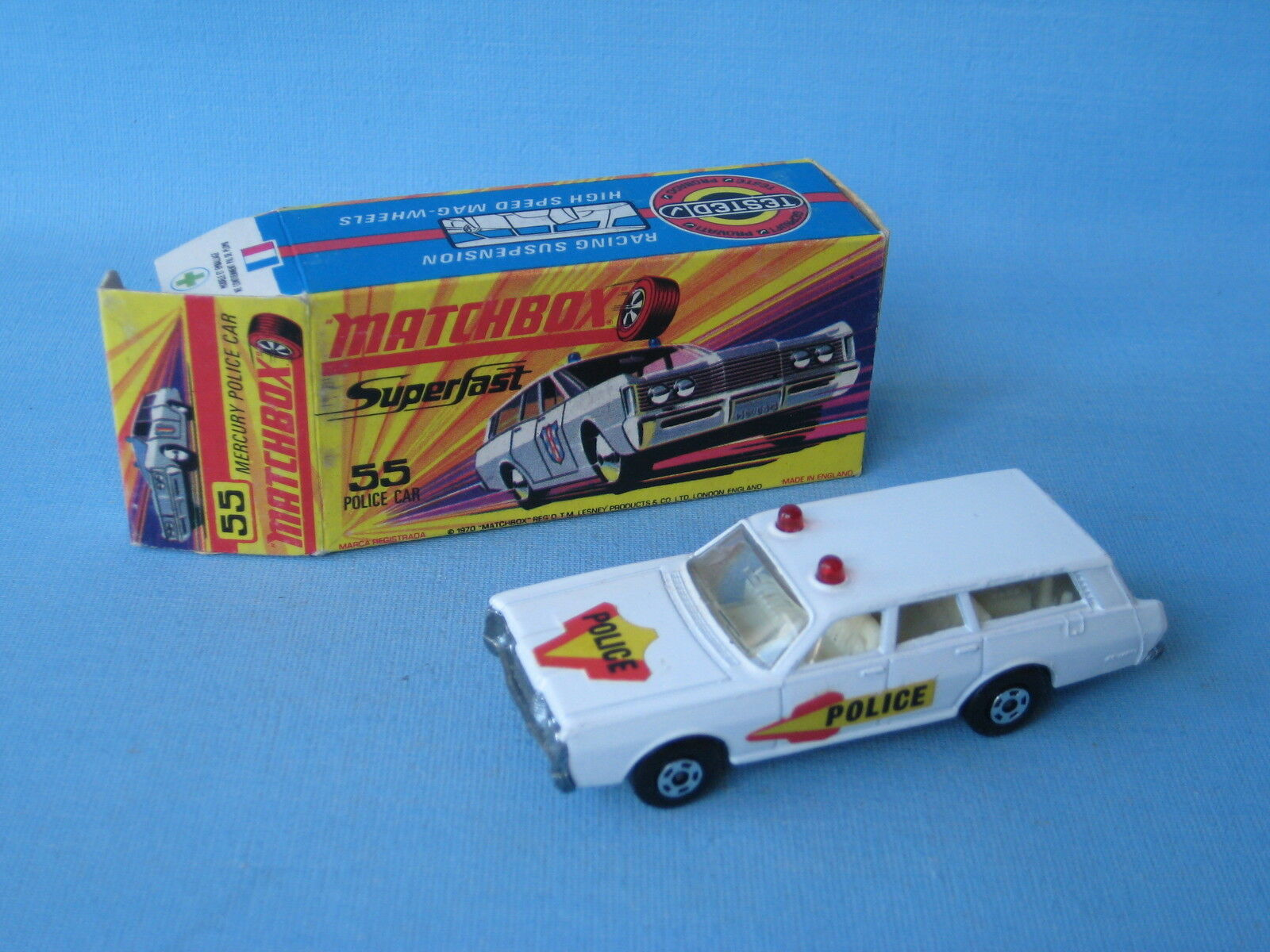 Lesney Matchbox Superfast 55 Mercury Police Car Estate Boxed Red Lights