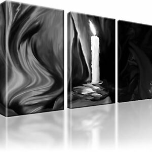 kerze abstrakt schwarz weiss bild 3 teilige bilder kunstdruck leinwand ebay. Black Bedroom Furniture Sets. Home Design Ideas