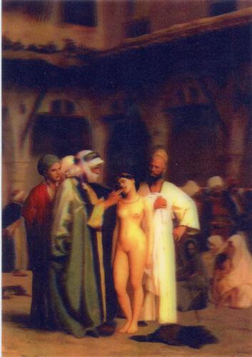 - 3D Lenticular Postcard Greeting Card 1866 Slave Market Jean Leon Gerome
