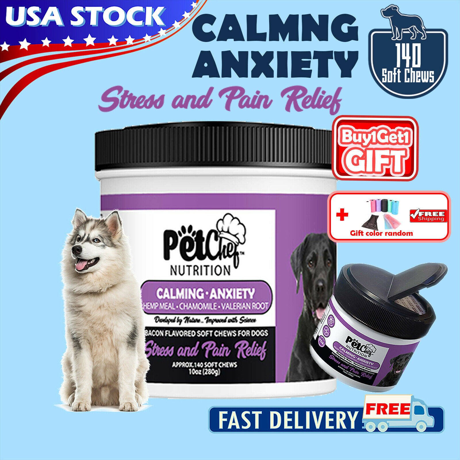 PetChef Calming Treats for Dogs with Organic Hemp Anxiety Relief 140 Soft Chews