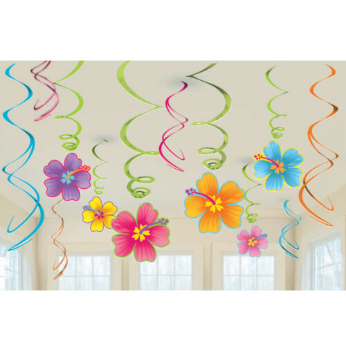 HAWAIIAN LUAU TROPICAL PARTY HIBISCUS SWIRL HANGING DECORATIONS PACK OF 12