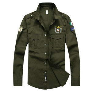 Mens-Military-Shirts-Long-Sleeves-Army-Air-Force-Cotton-Multicolor-Embroidered