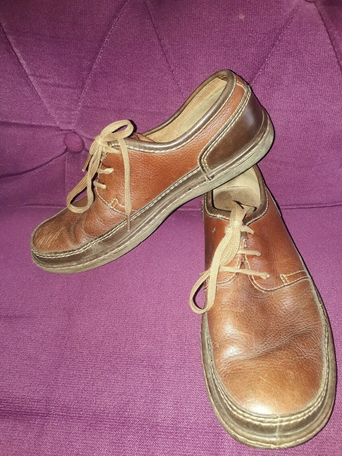 CLARKS LEATHER 2-TONE BROWN LACE UP SHOES SIZE 8.5 G EU 42.5