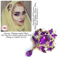 Diamante Drop Brooch Hijab Pins Scarf bridal wedding Jewellery Gold Purple 2