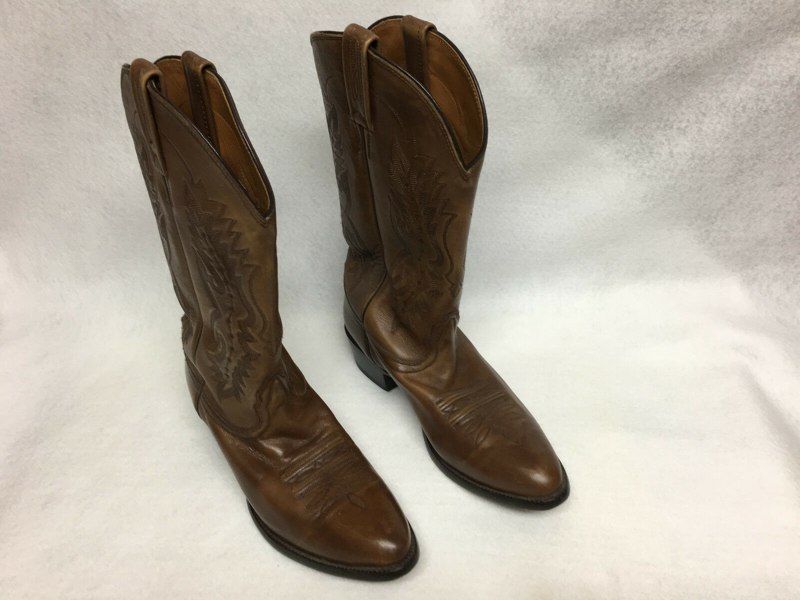 NOKONA MENS BROWN LEATHER COWBOY BOOTS SIZE 9 D VERY NICE
