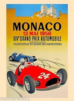 1958 Monaco Grand Prix Automobile Race Car Advertisement Vintage Poster