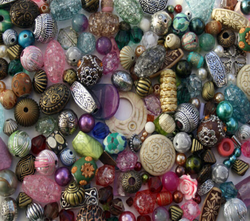 Job Lot Mixed bag of random Acrylic Jewellery Making Beads 100g