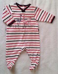 e68c42de5017b Pyjama coton rayé flamants bébé fille été 1 MOIS SERGENT MAJOR