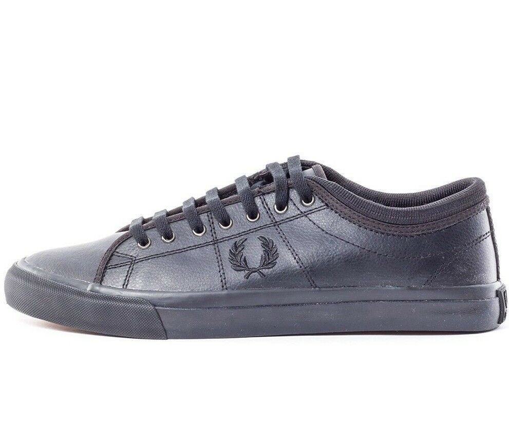 Fred Perry Kendrick Tipped Cuff Leather Men's Trainers Shoes B7460-102 Black