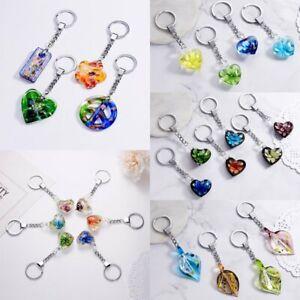 NEW-Leaf-Heart-Flower-Lampwork-Murano-Glass-Key-Chain-Keychain-Pendant-Keyring
