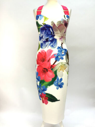 Us4 longue Taille Mi Robe Floral Me Forget Ted Baker Blanc Not Uk8 1 Eur34 ZfqwnO8H